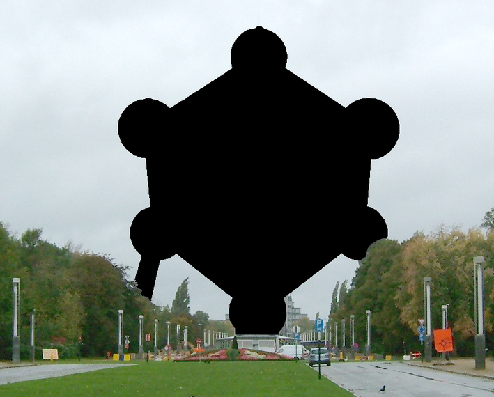 A blacked-out reproduction of the Atomium of Brussels