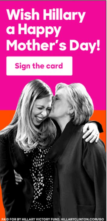 """Wish Hillary a Happy Mother's Day! – Sign the card"""